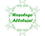 """pieczatki-online.eu - wzór pieczątki Wesołego Alleluja"""" z motywem kwiatowym i zajączkami"""